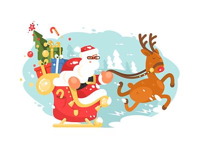 Santa in a hurry new year christmas gifts deer sleigh character claus santa illustration vector flat kit8
