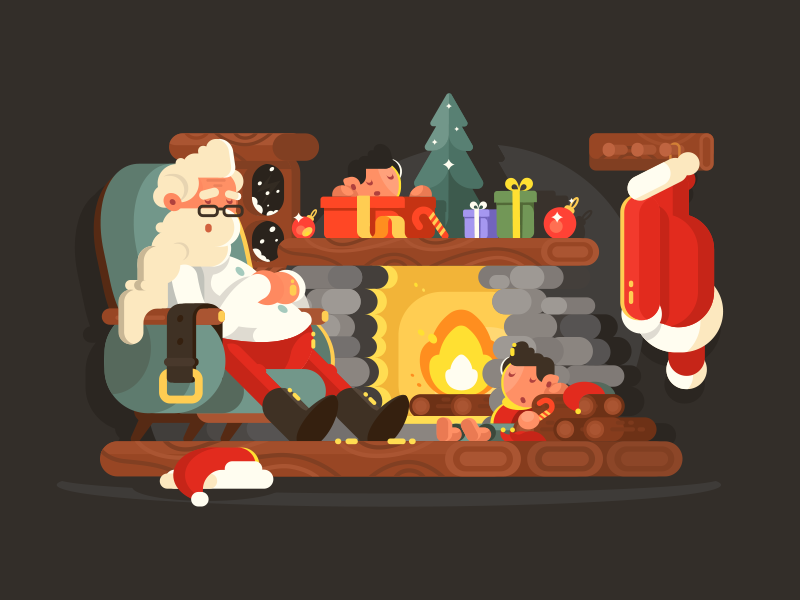 Santa Claus in a chair decoration interior celebration tree fireplace christmas santa holiday illustration vector flat kit8