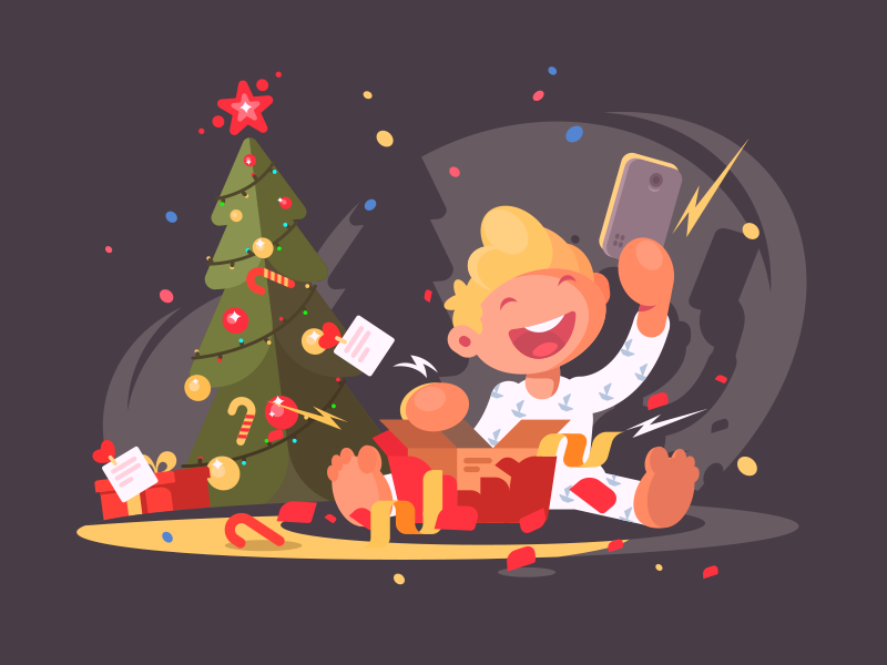 Child opens present kid gift child present christmas character illustration vector flat kit8