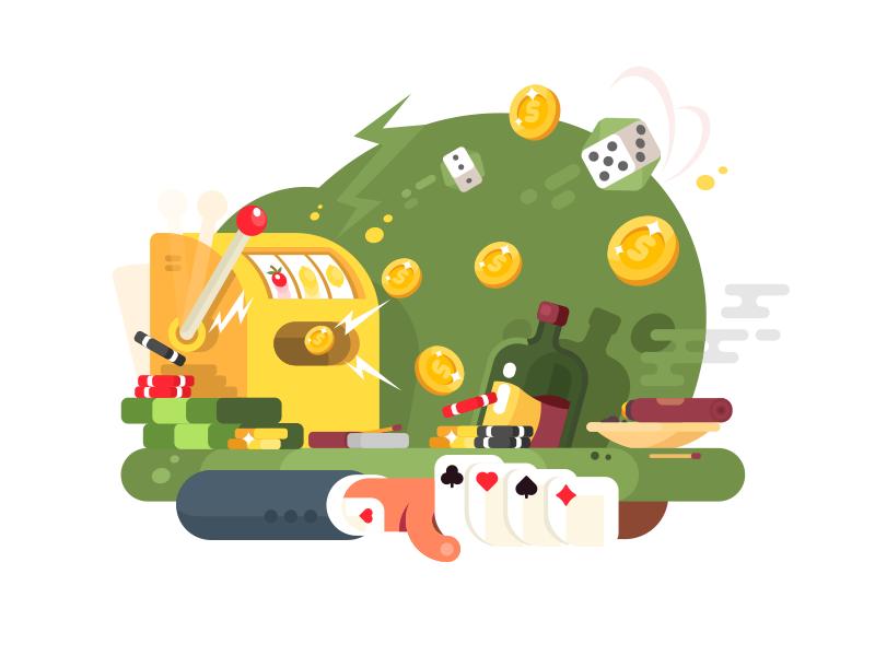 Gambling games dice card win chance jackpot game gambling casino illustration vector flat kit8