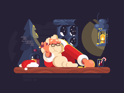 Bad Santa holiday cigar smoking alcohol man claus santa character illustration vector flat kit8