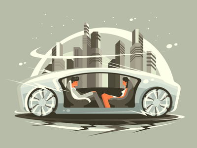 Future cars driverless autonomous concept vintage city character future car illustration vector flat kit8