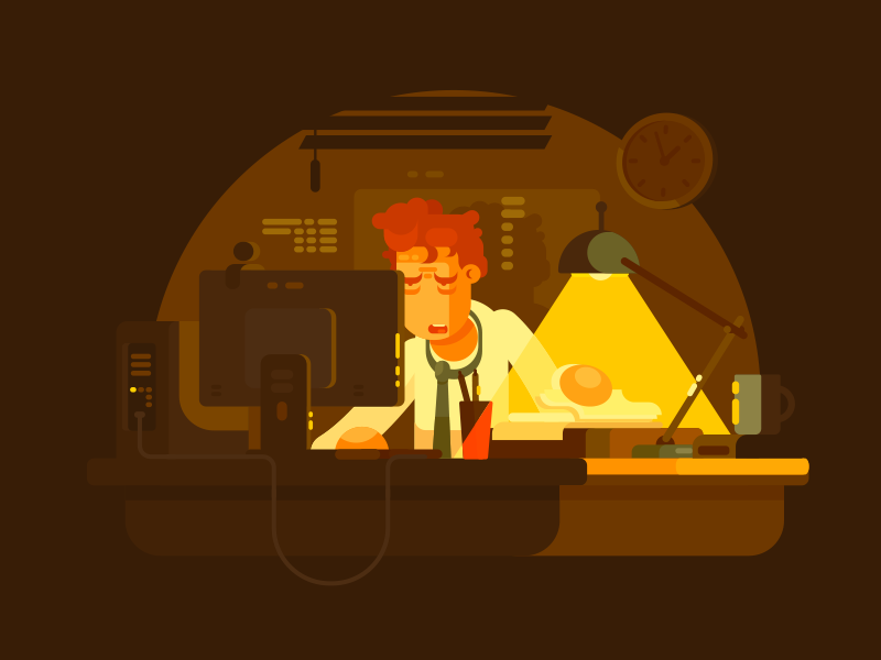 Work late business work businessman office man late tired character illustration vector flat kit8