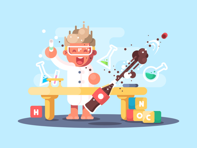 Young chemist chemistry cartoon science young experiment scientist chemist illustration vector flat kit8