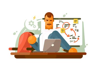Mega brain think man idea person business smart employee brain illustration vector flat kit8