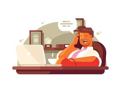 General manager entrepreneur professional talking businessman office phone manager business illustration vector flat kit8