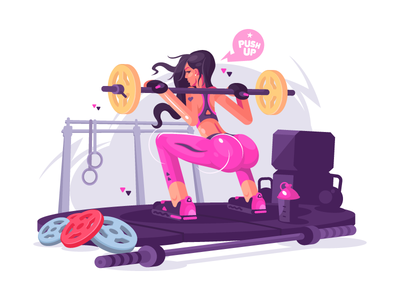Fitness girl young fitness sport gym girl fit illustration vector flat kit8