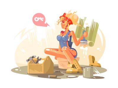 Girl painter paint sexy woman brush painter illustration vector flat kit8