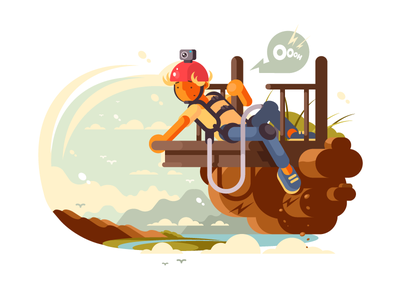 Bungee jumping ropejumping fear courage falling jump jumping bungee illustration vector flat kit8