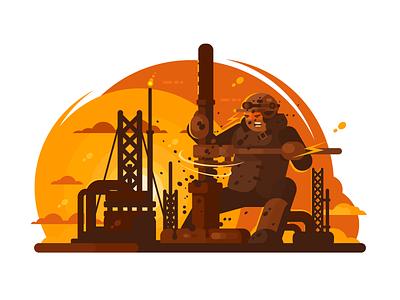 Oilman drills oil oilman drilling platform technology energy business industry illustration vector flat kit8