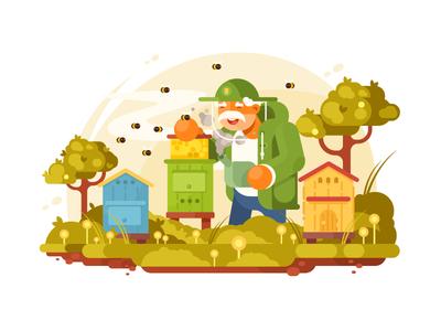 Beekeeper elderly man