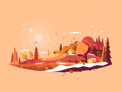 Landscape autumn fall sky outdoor season tree autumn nature landscape illustration vector flat kit8