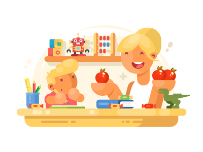 Mom helps son studying education homework mom son boy mother parent illustration vector flat kit8