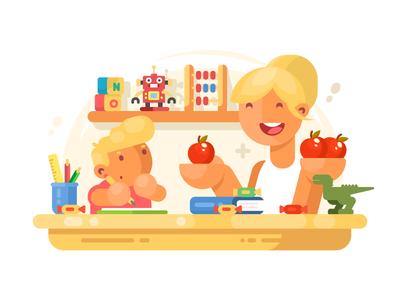 Mom helps son studying education homework mom son boy mother parent illustration vector flat kit8