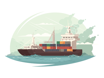 Container ship industry transportation shipping transport sea container ship cargo illustration vector flat kit8