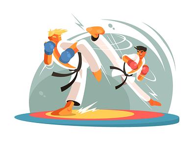 Karate sparring sparring strength fight health sport training karate illustration vector flat kit8