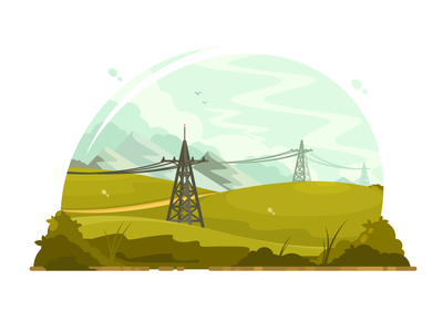 Power lines electric tower electricity energy line cable illustration vector flat kit8