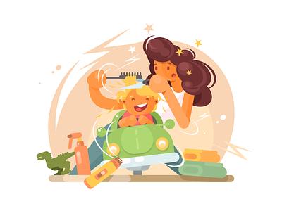 Children barber salon trim childhood hairdresser kid hair boy barber illustration vector flat kit8