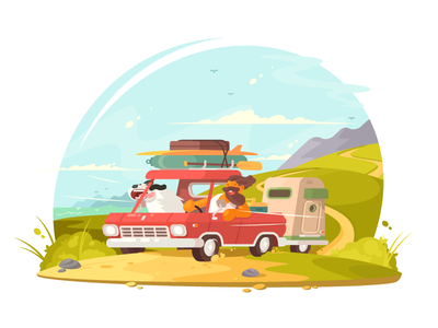 Go on vacation road lifestyle holiday ummer happy travel man vacation illustration vector flat kit8
