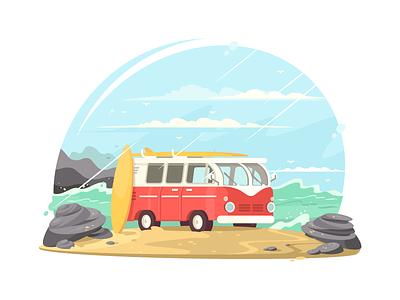 Surfing van vintage retro surfing surf beach vehicle van travel illustration vector flat kit8