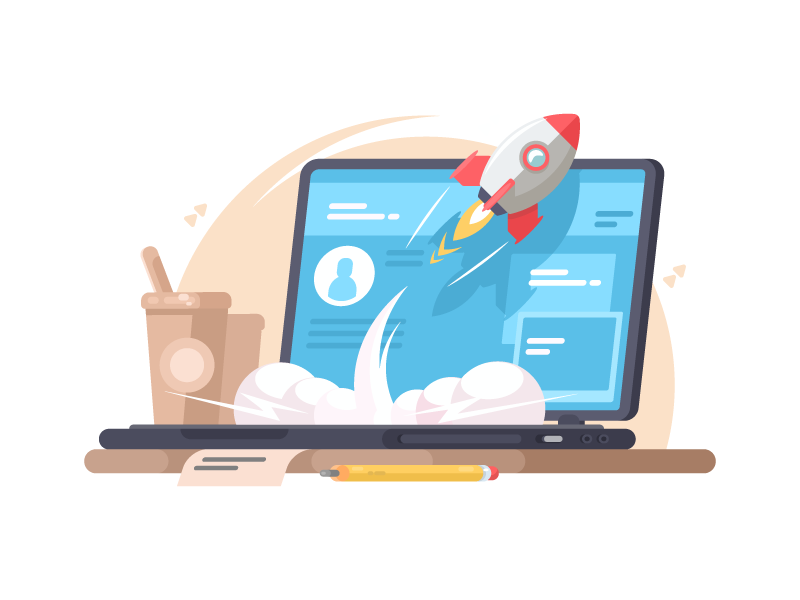 Launch of startup strategy up development creative rocket launch business success illustration vector flat kit8