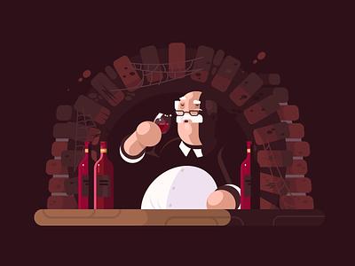 Sommelier drink man illustration vector flat character wine sommelier