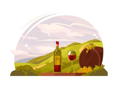 Vineyard harvest plant agriculture viticulture harvest wine vineyard vine grape illustration vector flat kit8