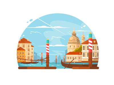 City of Venice italy architecture travel canal town water venice boat illustration vector flat kit8