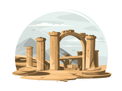 Architectural ruins building stone arch old architecture column ruin ancient illustration vector flat kit8
