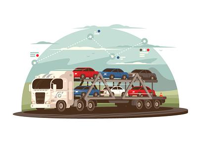 Transportation of cars cargo road truck business auto transport car vehicle illustration vector flat kit8