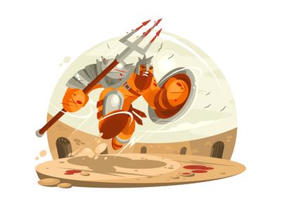 Gladiator soldier weapon man war roman sword warrior armor illustration vector flat kit8