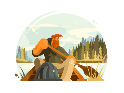 Man in canoe boat outdoor kayak man water paddle canoe sport illustration vector flat kit8
