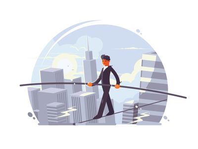 Tightrope walker risk balance tightrope rope walker stick ropewalker skyscraper illustration vector flat kit8