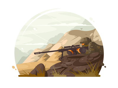 Military sniper force soldier gun rifle military sniper army weapon illustration vector flat kit8