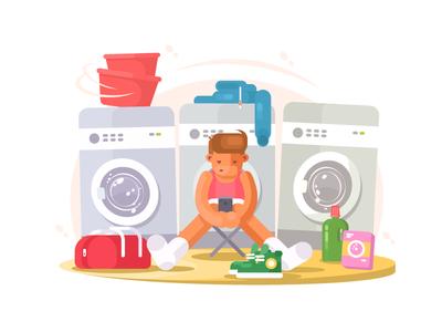 Laundry guy underwear clothing laundry machine clothes young washing vector flat kit8