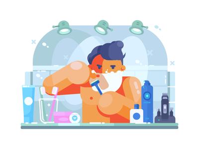 Man Shaves shaving hygiene razor face shaver male morning bathroom illustration vector flat kit8