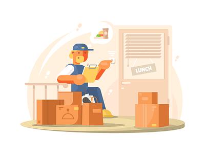 Uniformed deliveryman cartoon courier male delivery uniform character deliveryman illustration vector flat kit8