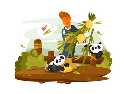 Pandas feeds asia baby panda wildlife cute nature animal zoo illustration vector flat kit8
