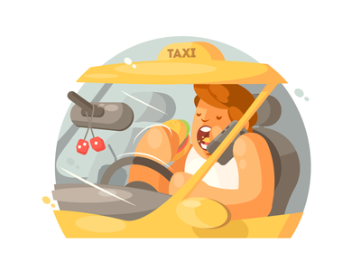Taxi Driver talking driving driver taxi busy business travel transportation illustration vector flat kit8