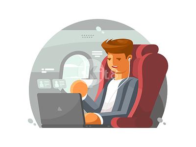 Businessman On Plane traveller aeroplane modern passenger flight travel airplane businessman illustration vector flat kit8
