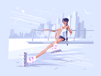 Cute girl roller beautiful female activity lifestyle sport roller fun girl illustration vector flat kit8
