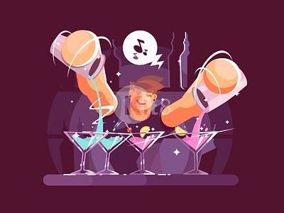 Young bartender alcohol bartender cocktail glass bar drink illustration vector flat kit8
