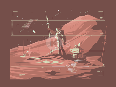 Human on Mars transportation martian colony astronaut colonization mars future illustration vector flat kit8