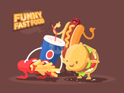 Funny fast food lunch soda funny fast drink french food hamburger illustration vector flat kit8