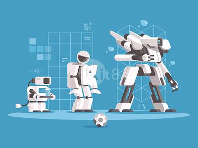 Evolution of robotics robot android future cyborg robotic artificial science technology evolution illustration vector flat kit8