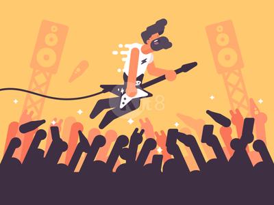 Guitarist play character man guitarist stage rock illustration vector flat kit8