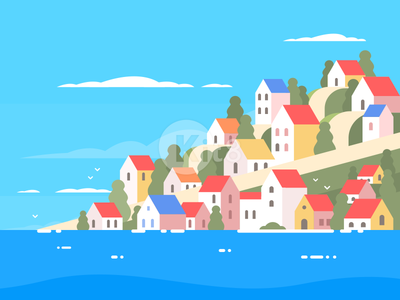 Houses on Greece coast ocean mountain travel vocation house greece illustration vector flat building