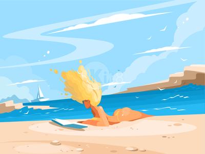 Girl on sunny beach cocation travel character ocean yacht seaside bikini beach girl illustration vector flat kit8
