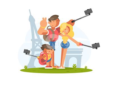 Selfie tourists eiffel paris travel vocation selfie illustration family vector flat kit8
