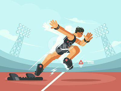 Start sprint stadium sprint start athlete sport character illustration vector flat kit8